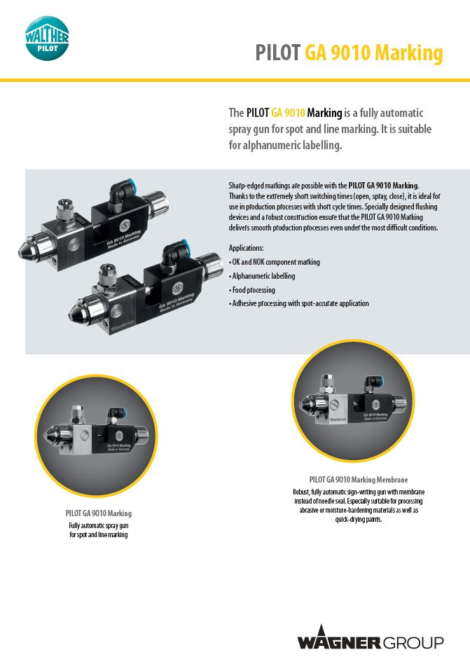 PILOT GA 9010 Automatic Marking Gun Product Brochure